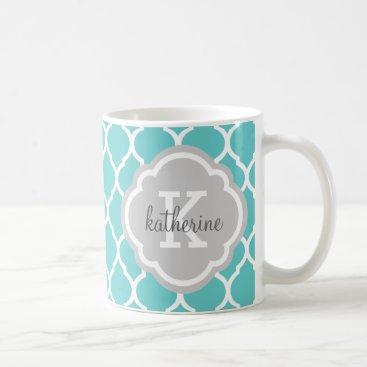 Turquoise and Gray Moroccan Quatrefoil Monogram Coffee Mug