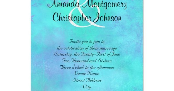 Turquoise And Purple Watercolor Abstract Wedding Invitation Zazzle Com