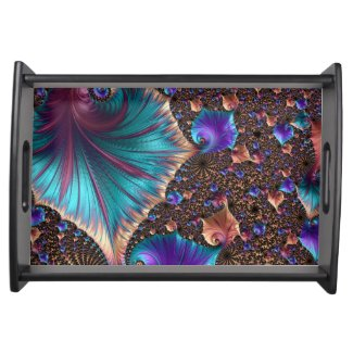 Turquoise/Black Fractal Art Serving Tray