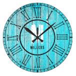 Turquoise Blue Family Monogram Weathered Wood Large Clock