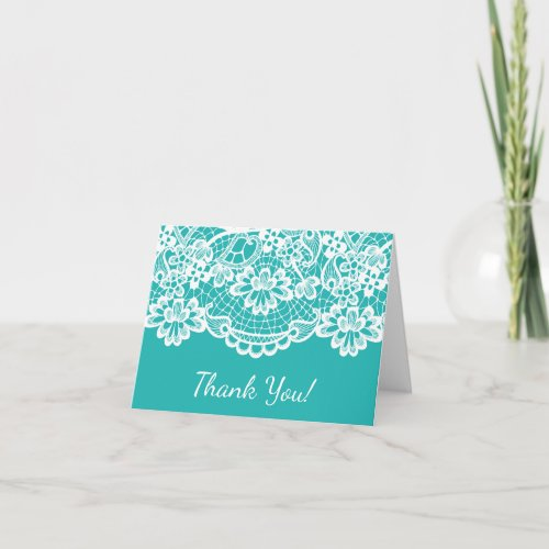 Turquoise Blue Vintage Lace Thank You Note