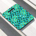Turquoise glitz chevron pattern look diva bling seat cushion