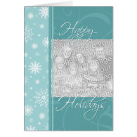 Turquoise Happy Holidays Christmas Photo Card