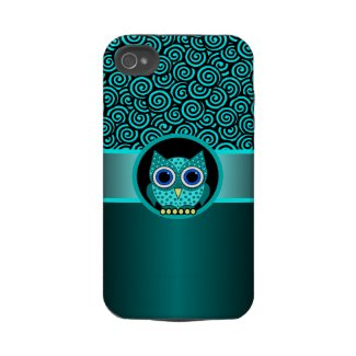 turquoise swirls pattern with owl casematecase