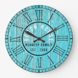 Turquoise Wood Beach House Black Roman Numeral Large Clock