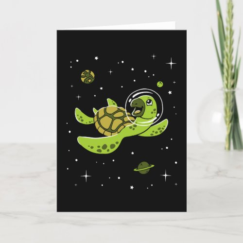 ❤️ Turtle Animals In Space Card