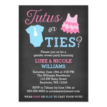 Tutus or Ties Gender Reveal Party Baby Shower Card