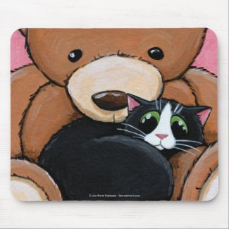 Tuxedo Cat and Big Teddy Bear | Cat Art Mousepad mousepad