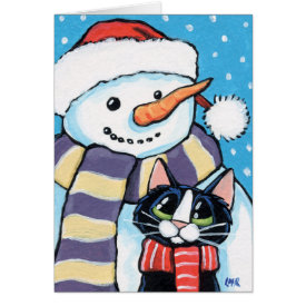 Tuxedo Cat and Carrot Nose Snowman Painting Greeting Card