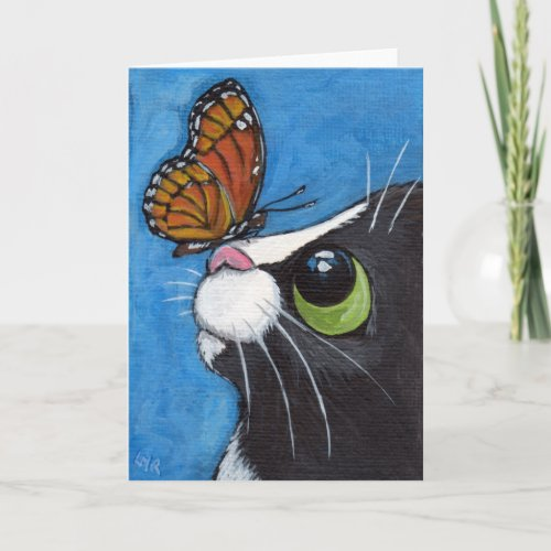Tuxedo Cat and Viceroy Butterfly Card