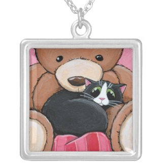 Tuxedo Cat & Big Teddy Bear | Cat Art Pendant