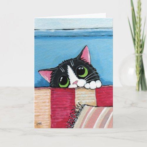 Tuxedo Cat Hiding | Cat Art Greeting Card