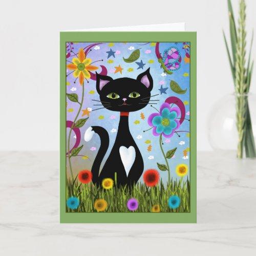 Tuxedo Cat Sitting In A Garden Card