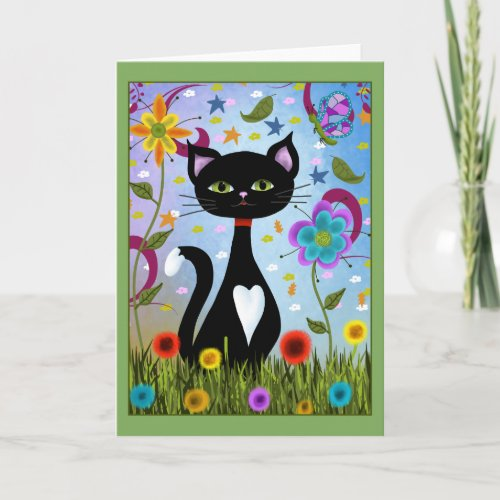 Tuxedo Cat Sitting In A Garden Card