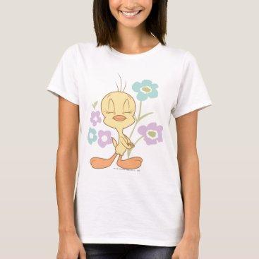 Tweety Purple Blue Flowers T-Shirt