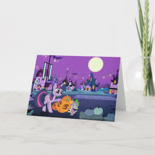 Twilight Sparkle with Halloween Pumpkin Card