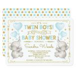 Twin Boys Elephant Baby Shower Blue Gold Jungle Invitation