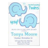 Twin Elephant Baby Shower Invitation (boys)
