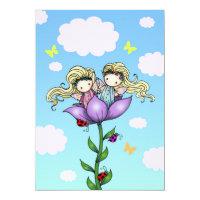 Twin Girls Fairy Birthday Party Invitations