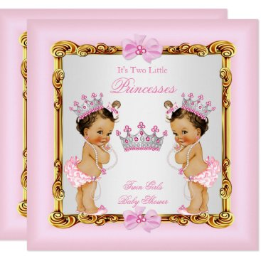 Twin Girls Princess Baby Shower Gold Pink Brunette Invitation