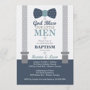 twins baptism christening invitations