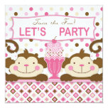 ❤️ Twin Monkeys & Ice Cream Sundae Birthday Invitation