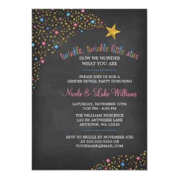 Twinkle Little Star Chalkboard Gender Reveal Party Card