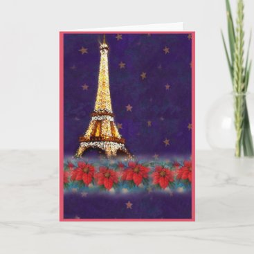 twinkling EIFFEL TOWER JOYEUX NOEL Holiday Card