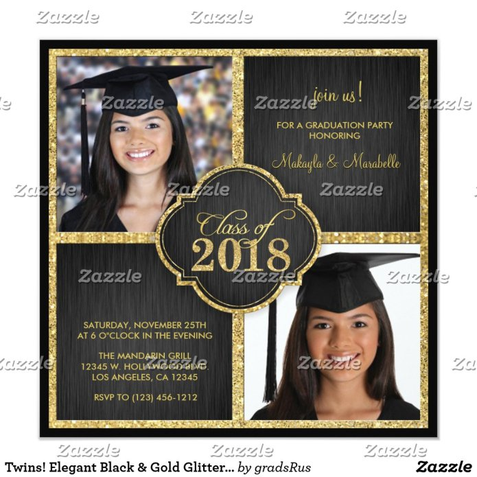 Twins! Elegant Black & Gold Glitter Class of 2018 Card