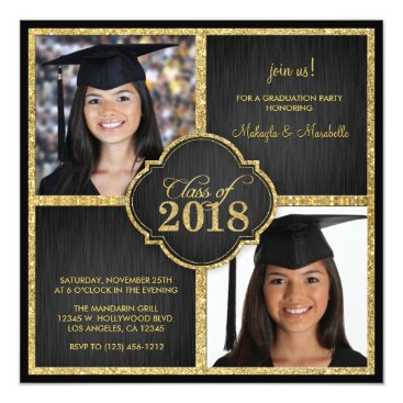 Twins! Elegant Black & Gold Glitter Class of 2018 Invitation