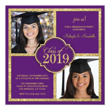 Twins Elegant Black & Purple Glitter Class of 2019 Invitation