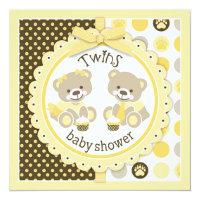 Twins Teddy Bears Tie Tutu Baby Shower Card
