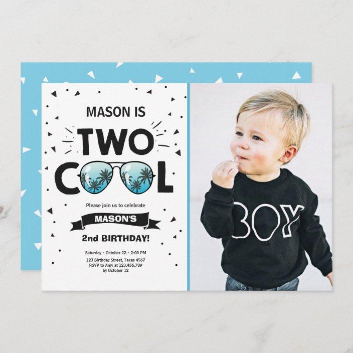two cool birthday invitation boy 2nd birthday blue zazzle com