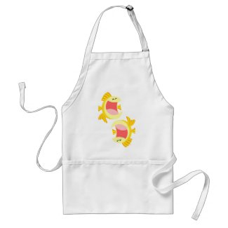Two Cute Cartoon Fish Cooking Apron apron