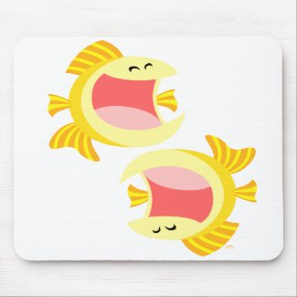 Two Cute Cartoon Fish Mousepad mousepad
