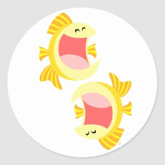 Two Cute Cartoon Fish Sticker sticker