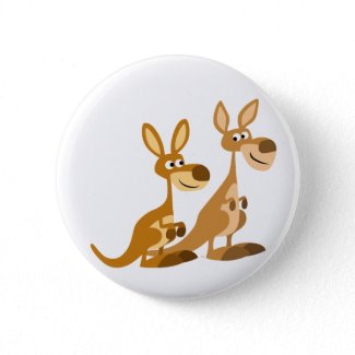 Two Cute Cartoon Kangaroos Button Badge button