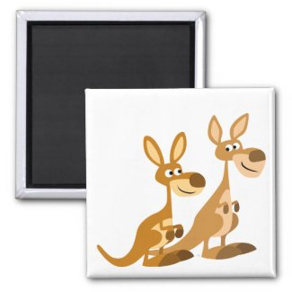 Two Cute Cartoon Kangaroos Magnet magnet