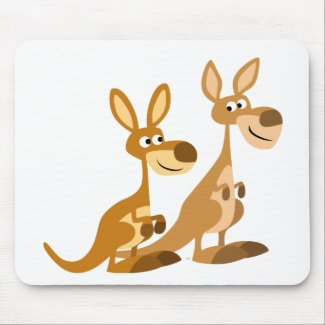 Two Cute Cartoon Kangaroos Mousepad mousepad