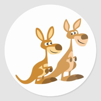 Two Cute Cartoon Kangaroos Round Sticker sticker