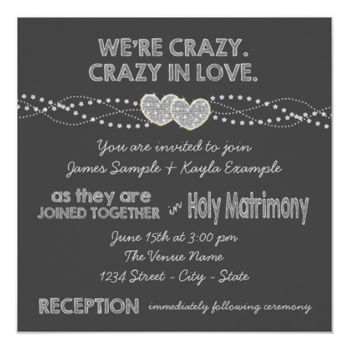Two Hearts Chalkboard Wedding Invitation