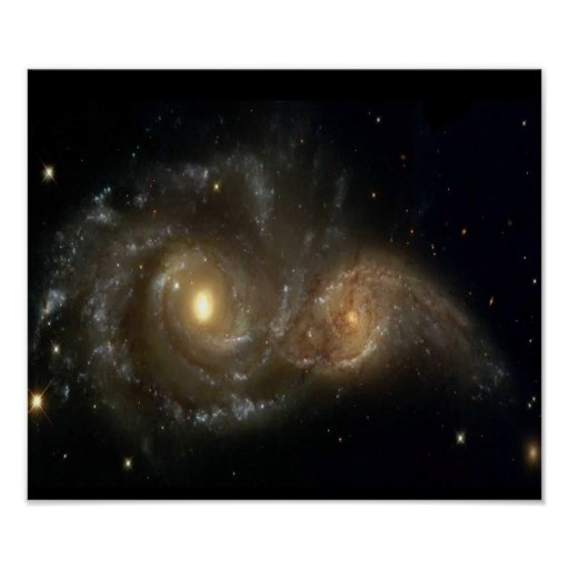 Two Spiral Galaxies Colliding Poster | Zazzle