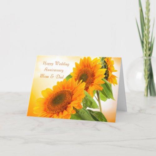 Two sunflowers Wedding Anniversary Mom &amp&#x3B; Dad Card