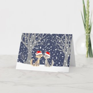 Two wolves in winter Christmas greeting card card