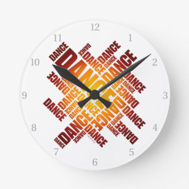 Typographic Dance Round Clock