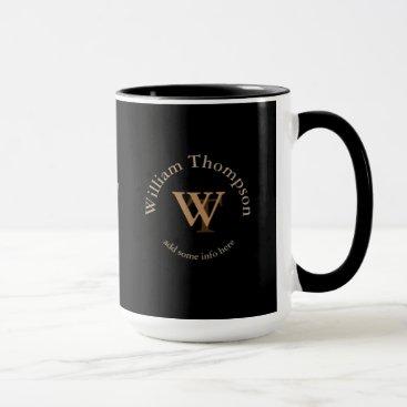 typography monogram - personalized logo black mug