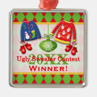 Ugly Christmas Sweater Contest Winner Ornament