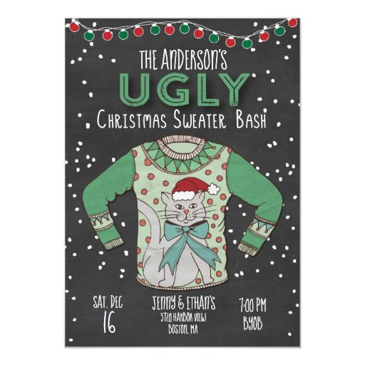 Ugly Christmas Sweater Party Invitation - Cat