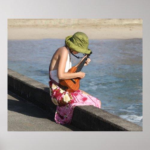 Ukulele Lady in Hawaii Poster