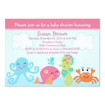 Under the Sea life/Girl Baby Shower Invitation
